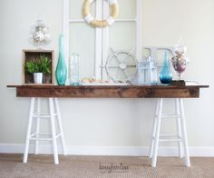 Pottery Barn Knockoff Sawhorse Console Table - HoneyBear Lane