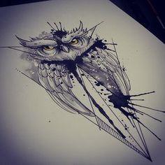 #illustration #tattoo #ink #watercolor #watercolortattoo #aquarela #owl #coruja
