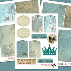 Inspired Printable Journal Pages - Aqua Blue Tan Brown - Birds Vintage Ephemera - Journal Supplies - 5x7 Size Vintage Art Journal Papers