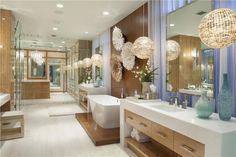 Contemporary Master Bathroom with Limestone counters, frameless showerdoor, Chandelier, Diamond White, Quartz by Arizona Tile