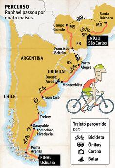 Pesquisador pedala 4.000 km do interior de SP ao Ushuaia - 02/05/2013 - Turismo - Folha de S.Paulo Chile, Travel Around The World, Around The Worlds, Ushuaia, Gabriel, Traveling, Uruguay, Travel Tourism, Maps