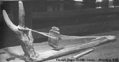 """Finnish rigid heddle loom.  """"The scandinavians carved small heddles from bone and antler to create simple [looms that could weave] thin bands."""" —Isabel Ulfsdottir"""