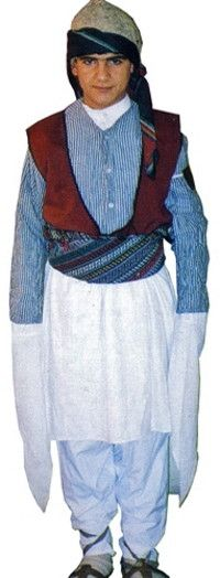 A traditional costume from the Mardin province, displaying strong Syrian/Arabic influences.  Clothing style: mid-20th century.  This is a recent workshop-made copy, as worn by folk dance groups.