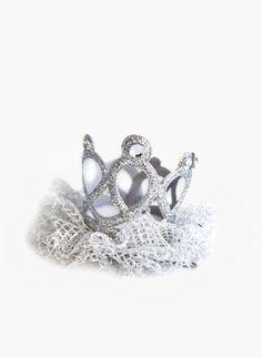 Hello Alyss Jewel Princess Crown Hair Clip - Silver