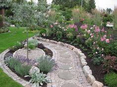 Love the pathway Garden Edging, Garden Paths, Garden Art, Farm Gardens, Small Gardens, Outdoor Gardens, Privacy Fence Landscaping, Garden Landscaping, Rock Garden Plants