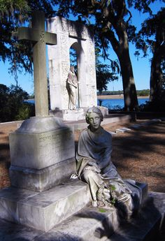 Bonaventure cemetery.  This is my favorite tombstone in the cemetery.  Her name was Corinne Elliott Lawton.  It is said she was inconsolable because of a forbidden love and threw herself in an icy creek in Bonaventure Cemetery and later died.