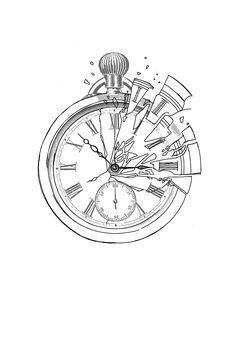 Octopus Tattoo Design, Clock Tattoo Design, Tattoo Design Drawings, Tattoo Designs, Clock Drawings, Brain Drawing, Common Tattoos, African Tattoo, Make Tattoo
