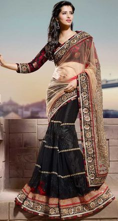 Black and Beige Brown Net Embroidered Saree - IG7745 USD $ 182