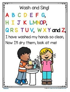 FREE Wash Your Hands and Sing the ABC Song – Poster in Color and B-W Tape the poster beside the bathroom sink and encourage children to sing the whole song while washing their hands. Hand Washing Song, Hand Washing Poster, Beginning Of School, First Day Of School, Pre School, First Day Poem, School Social Work, Preschool Songs, Kindergarten Classroom