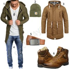 Casual mens outfit with green Amaci & Sons hoodie, carhartt beanie, brown s . Cool Outfits For Men, Winter Outfits Men, Casual Outfits, Men Casual, Mode Man, Modern Mens Fashion, Style Masculin, Neue Outfits, Herren Outfit