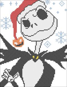 Your place to buy and sell all things handmade Disney Cross Stitch Patterns, Cross Stitch Designs, Jack Skellington, Cross Stitching, Cross Stitch Embroidery, Christmas Cross, Merry Christmas, Adornos Halloween, Pixel Art