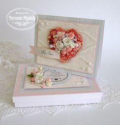 Różane Serce, kartka z pudełkiem - Kartki Ślubne - Papier