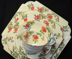 Aynsley Art Deco HPT Enamel Tea Cup and Saucer Trio Square Plate Plus Cake