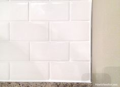 How to Install a Kitchen Backsplash - The Best and Easiest Tutorial Countertop Backsplash, White Subway Tile Backsplash, Kitchen Wall Tiles, Condo Kitchen, Kitchen Cupboards, Kitchen Remodel, Countertops, Backsplash Ideas, Kitchen Island