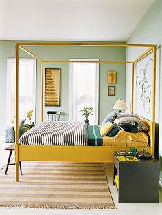So unexpected... a mint green and goldenrod yellow bedroom /// Green Interior Design Inspiration