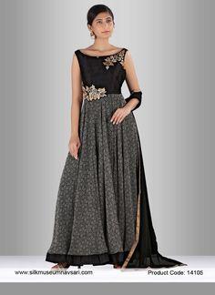 Modish Black Kasab work Party Designer Gown