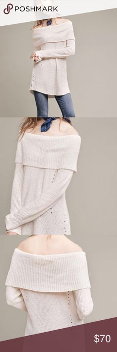 Ivory Off the Shoulder Sweater Soft, lightweight knit sweater in ivory by Moth from Anthropologie. Perfect for the fall and winter paired with jeans and boots. Can be worn off the shoulder or as a cowl-neck style. NWT and never worn. Size XS. Anthropologie Sweaters Cowl & Turtlenecks