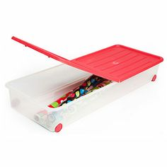 """Under Bed Storage Container on Wheels.   -Hinged lid for easy access   -Transparent plastic to see items   -Holds 20"""" rolls of wrapping paper   -SKU: 810141054   -In Store Only"""