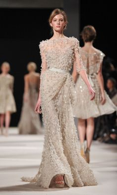 Which of These Over-the-Top Elie Saab Dresses Would You Wear as a Wedding Dress? - Which of These Over-the-Top Elie Saab Dresses Would You Wear as a Wedding Dress?: Save the Date - Elie Saab Couture, Haute Couture Gowns, Couture Mode, Couture Dresses, Couture Fashion, Paris Fashion, Robes Elie Saab, Elie Saab Dresses, Elie Saab Kleider