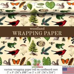 Woodland Wrapping Paper | Custom Woodland Gift Wrap Paper 9 foot or 18 foot Rolls Great For Any Occasion. Made In The USA  Custom wrapping paper
