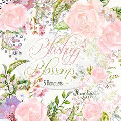 Blush Roses Bouquets,Wedding Invitation Flower Clipart,Blush Roses,Blushing Blossoms: 5 Watercolor Bouquets, hand painted Wedding clipart by FlowerdanceLLC on Etsy