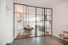 Glass Barn Doors, Glass Door, Steel Windows, Windows And Doors, Glass Partition Designs, Crittall, Chalet Design, Contemporary Doors, Iron Doors