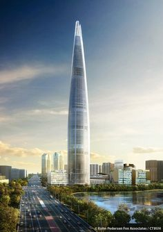 Construction of the Lotte World Tower in Seoul, South Korea designed by high-rise architectural firm KPF is well underway. Futuristic Architecture, Amazing Architecture, Architecture Design, Building Architecture, Classical Architecture, Amazing Buildings, Modern Buildings, Lotte World, High Rise Building