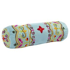 """Cotton pillow with a multicolor floral motif.  Product: PillowConstruction Material: CottonColor: MultiFeatures: Insert includedDimensions: 20"""" W x 6"""" DiameterCleaning and Care: Spot clean"""
