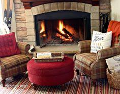 Corner stone fireplace with plaid chairs and Ikea Kattrup rug-www.goldenboysandme.com
