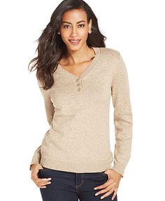 Karen Scott Long-Sleeve Henley Top purple, orange or other color