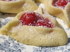 The Best Ever Cherry Hamentashen ...I made these last year for Purim.  They are not the traditional filling or texture, but they were FABULOUS!!  I couldn't get enough.  I could not wait to make them again.  If you like a flakier cookie try this recipe http://www.cyber-kitchen.com/rfcj/PURIM/Hamentaschen_Pastry_Flaky_-_dairy.html
