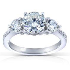 Annello 14k Gold 6.5 mm Round-cut Moissanite and 3/5 ct TDW Diamond Three Stone Engagement Ring (G-H, I1-I2)