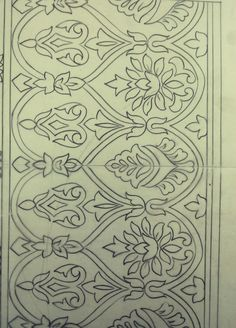 Border Embroidery Designs, Floral Embroidery Patterns, Embroidery Suits Design, Hand Embroidery Stitches, Embroidery Art, Textile Patterns, Quilting Designs, Islamic Art Pattern, Pattern Art