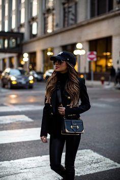 Need some easy tips for looking chic even when you're crazy busy? Head to the blog for my quick tricks on looking pulled together. {Fashion blogger mia mia mine wears balmain blazer, leather pants, baseball cap, prada cahier bag}