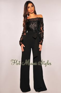 aaa5fa27661c Black Embroidered Lace Off Shoulder Belted Palazzo Jumpsuit