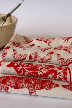 Flour Sack Towel, Hand Printed, Red Farm Prints, 3 Natural Cotton Towels by TheHighFiber on Etsy