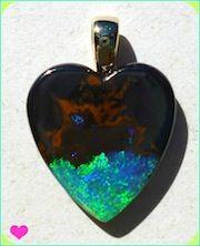Boulder Opal Heart Pendant - PB251
