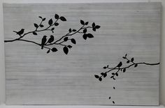 Wall Art Bird and Branch White Bamboo - Mes Homewares