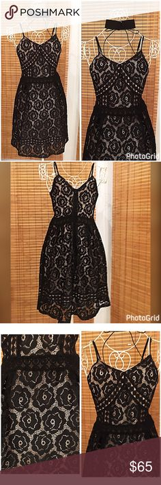 Stunning! Fully lined adjustable strap lace dress! Stretch lace fully lined - with nude lining this black floral lace pops! Hidden back zip - elegant shape fit n flare stunning dressed up or fun with flops and a fun necklace! 19 Cooper Dresses