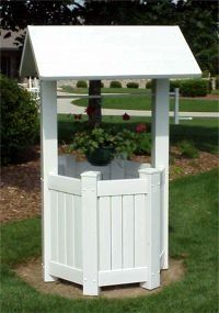 New Dura Trel White Vinyl Wishing Well Patio Garden Backyard Outside Made in USA Well Pump Cover, Wishing Well Garden, Vinyl Lattice Panels, Pump House, Outdoor Living, Outdoor Decor, Outdoor Planters, Outdoor Projects, Trellis