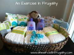 How To Make A Budget Baby Shower Basket. I think I'd like this more than a diaper cake! You can make a simple DIY Baby Shower Gift Basket on a tight budget. This thoughtful gift for new moms only LOOKS like an expensive gift. Canasta Para Baby Shower, Regalo Baby Shower, Baby Shower Gift Basket, Baby Baskets, Baby Boy Shower, Basket Gift, Baby Showers, Baby Shower Gifts For Boys, Practical Baby Shower Gifts