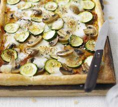 Courgette, mushroom & mozzarella tart