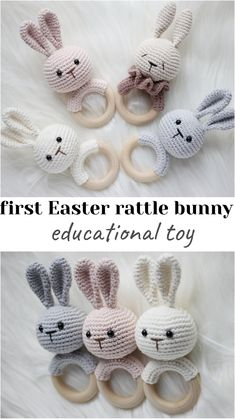First Easter toy for newborn, Teether bunny, Wooden animal rattle Handmade Baby, Etsy Handmade, Baby Knitting, Crochet Baby, Newborn Toys, Bunny Toys, Teething Toys, Baby Rattle, Baby Kind