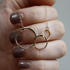 Linked Circle Necklace - Gold . Three Circles . Karma . Eternity .