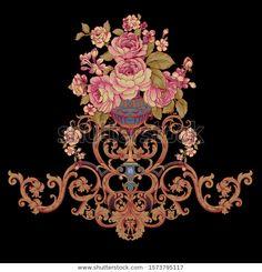 Baroque Design, Baroque Art, Rose Flower Wallpaper, Antique Wallpaper, Pattern Art, Pattern Design, Romantic Roses, Album Design, Floral Border