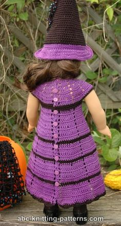 ABC Knitting Patterns - American Girl Doll Witch's Dress