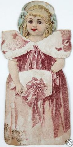 Clark's O N T Spool Cotton 2 Antique Victorian Paper Doll Trade Cards Sewing
