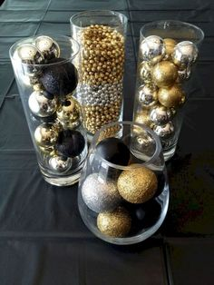 There are many Gatsby Party Ideas that you can try on our current articles, check this out. So if you're prepared to party this up, Gatsby-style New Years Eve Decorations, Gold Christmas Decorations, Christmas Ornaments, Black And Gold Party Decorations, Gold Ornaments, Great Gatsby Party Decorations, Masquerade Party Decorations, Diy 1920s Party, Diy 1920s Decorations