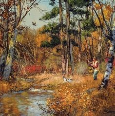 Grouse hunting oil painting by Brett J Smith Hunting Painting, Hunting Art, Hunting Dogs, Duck Hunting, Wildlife Paintings, Wildlife Art, Landscape Paintings, Grouse Hunting, Pheasant Hunting