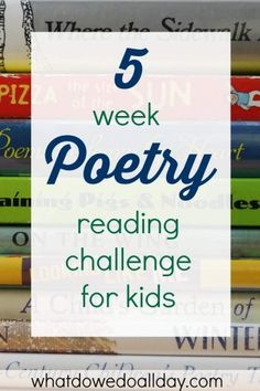 5 week poetry reading challenge that is perfect for beginners. Poetry Activities, Reading Activities, Library Activities, Reading Strategies, Educational Activities, Teaching Poetry, Teaching Reading, Learning, Teaching Ideas